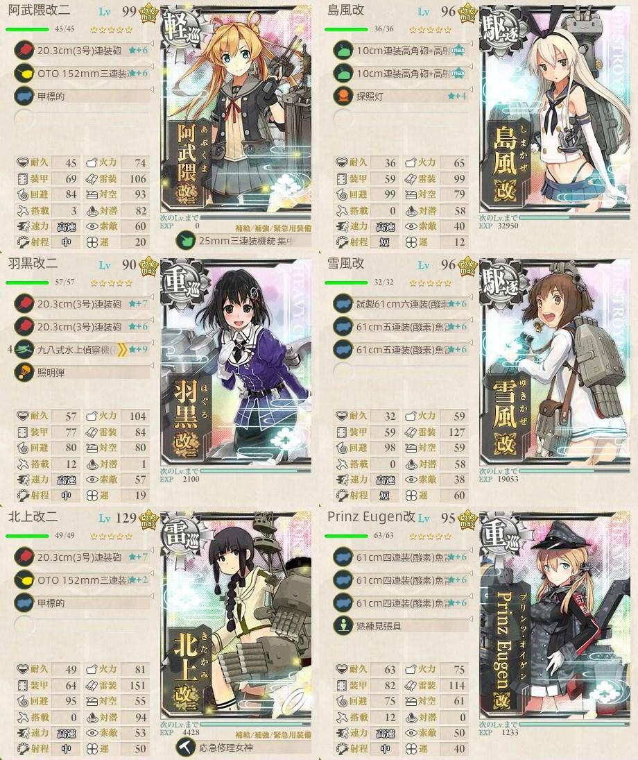 2017夏イベE4戦力ゲージ二本目攻略編成例 第ニ艦隊