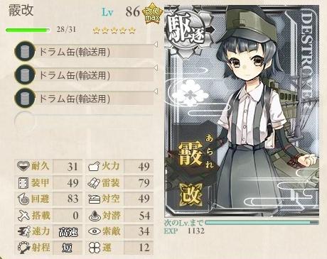 5-4周回レベリング 育成艦(駆逐艦)装備例