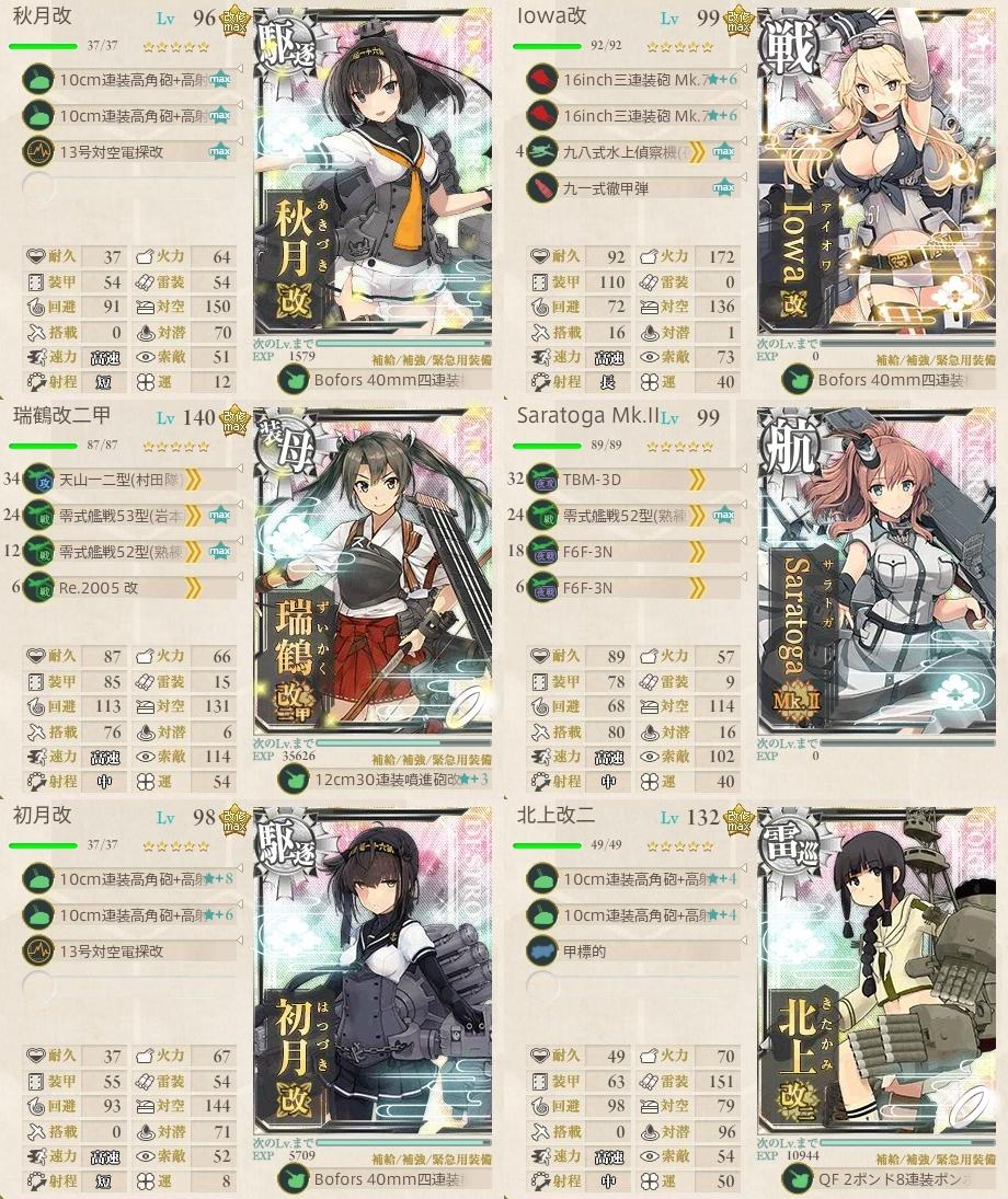 五周年任務【伍:五周年艦隊出撃!】6-5編成例